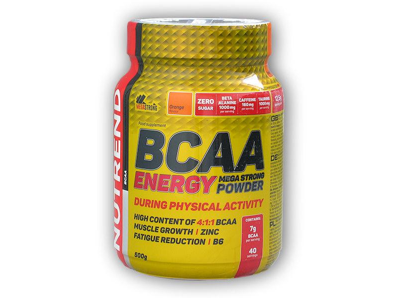 BCAA Energy Mega Strong Powder 500g - akce-pomeranc