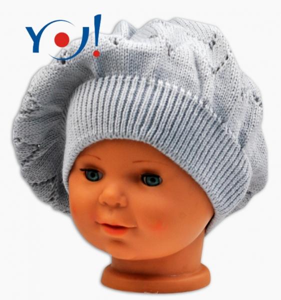 Háčkovaný baret YO ! - šedý - 56 čepičky obvod/54 čepičky obvod