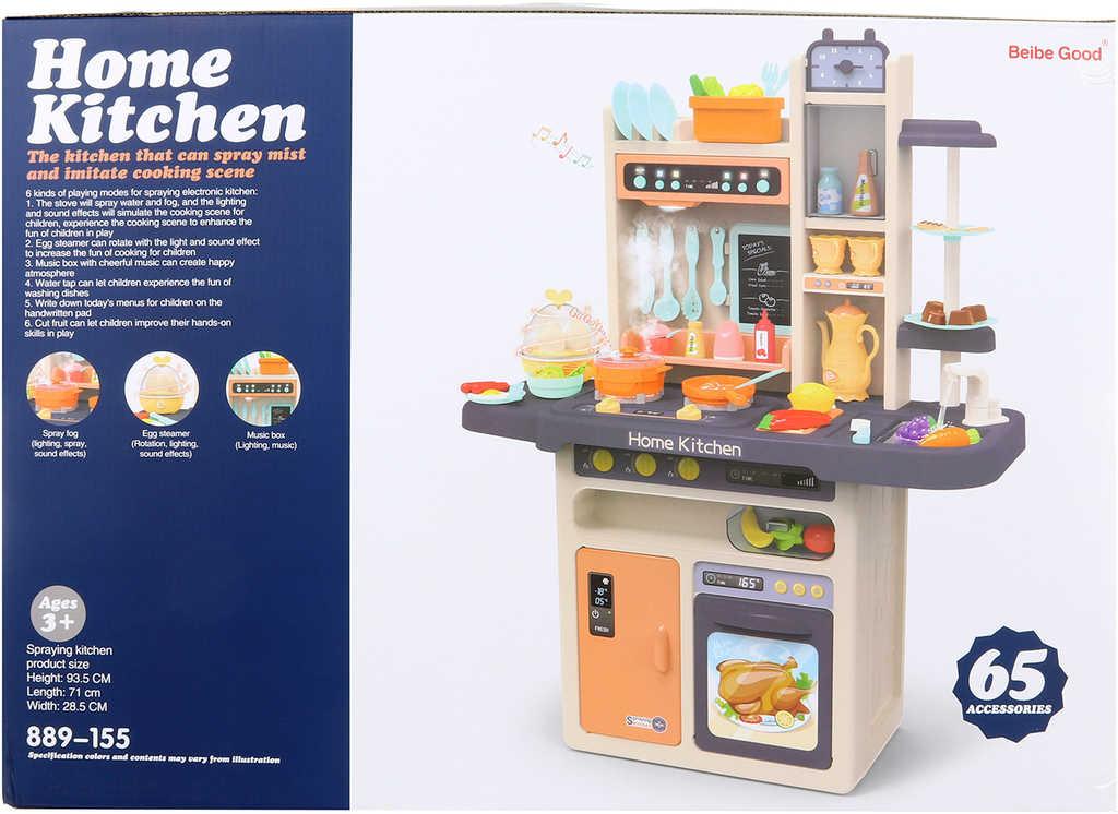 Kuchyňka dětská 94cm set s funkčním dřezem a radiem na baterie Světlo Zvuk