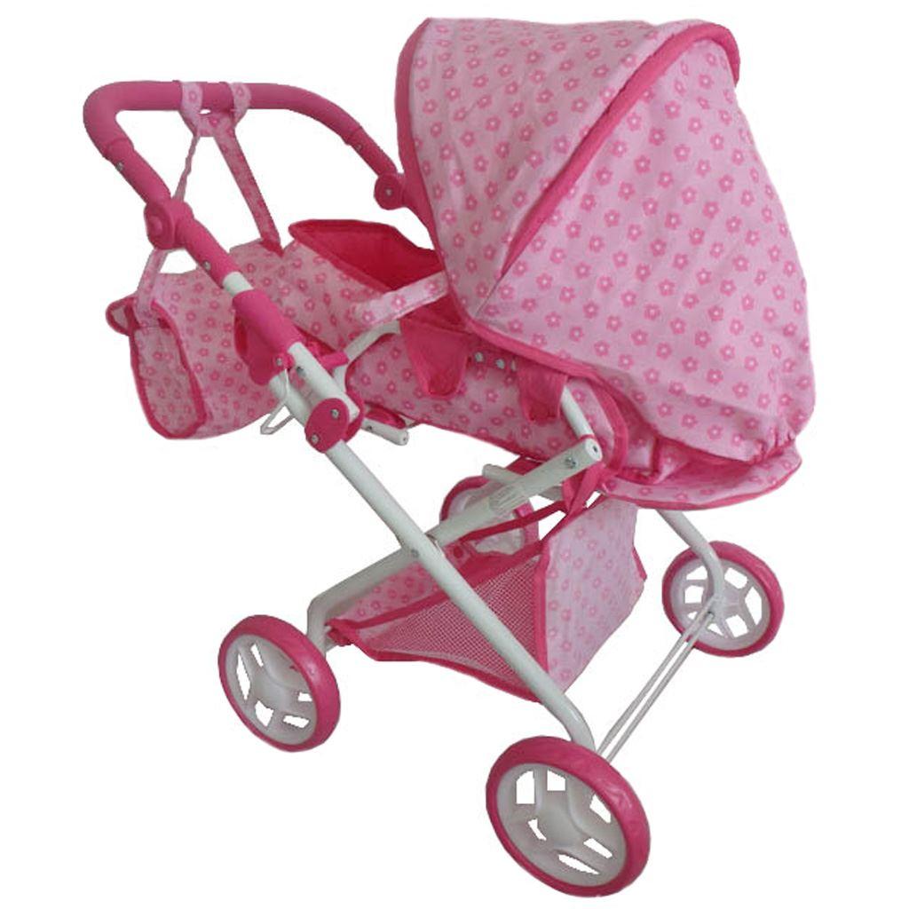 Dětský kočárek pro panenky 2v1 Baby Mix s kytičkami - růžová