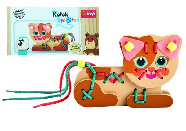 Koťátko dřevěná hračka navlékací se šňůrkami v krabičce
