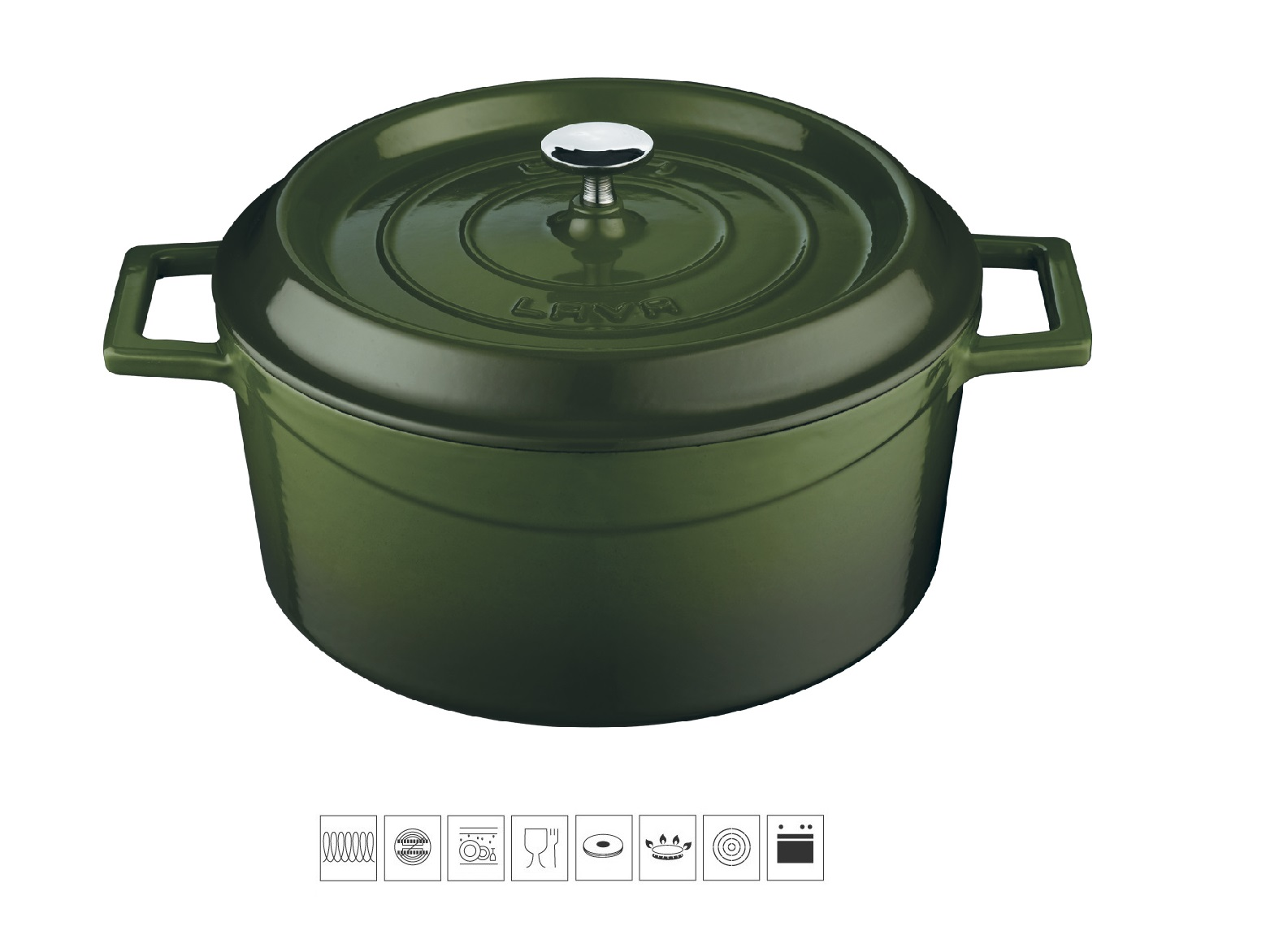 Litinový hrnec kulatý 24cm - zelený
