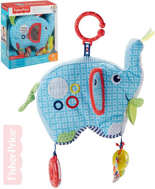 FISHER PRICE Baby sloník textilní chrastítko s aktivitami pro miminko