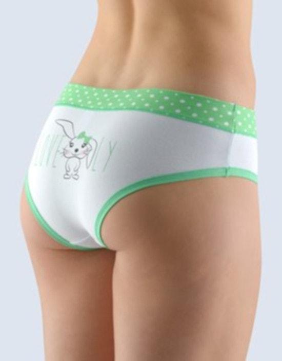 GINA dámské kalhotky francouzské, šité, bokové, s potiskem Funny 4 collection 14134P - máta bílá