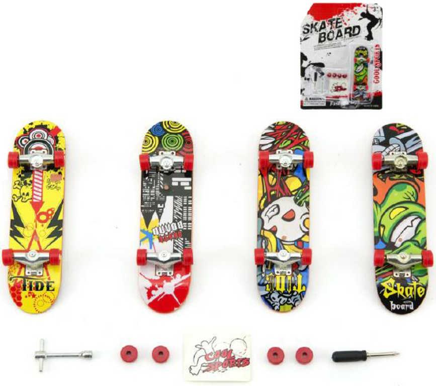 Skateboard psrtový 10cm set s nástroji k sestavení různé druhy na kartě plast