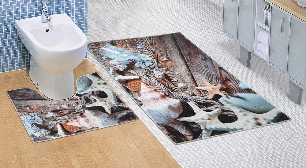 Koupelnová sada předložek 3D 60x100+60x50cm Mořské lastury