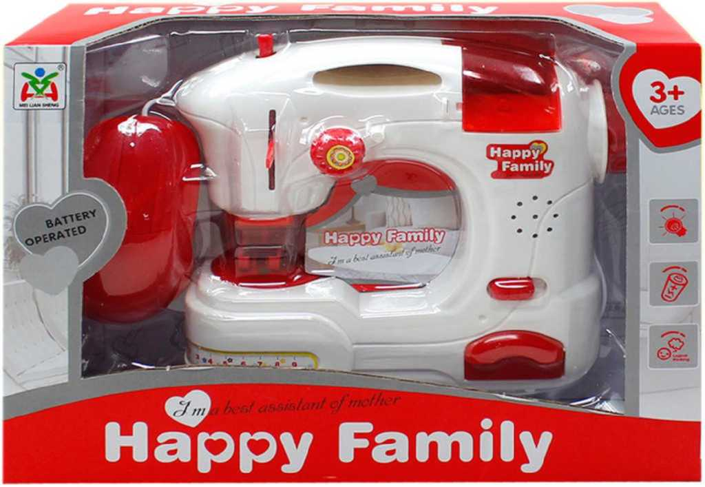 Šicí stroj dětský na baterie set s doplňky plast Světlo Zvuk