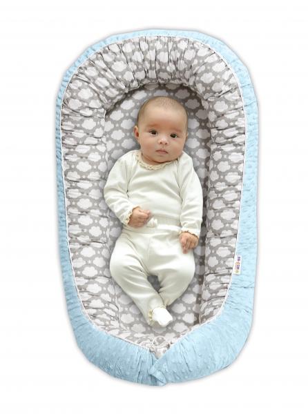 Maxi oboustranné hnízdečko s minky pro miminko Mráček v šedé/sv.modrá