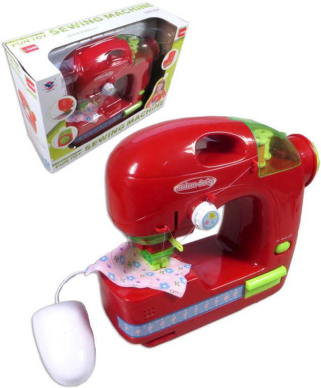 Stroj šicí dětský na baterie funkční červený set s nitěmi plast Světlo Zvuk