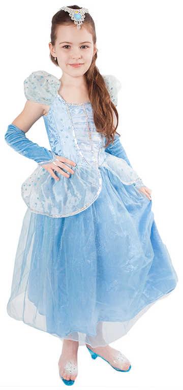 KARNEVAL Šaty princezna modrá hvězda vel. L (130-140 cm) 8-10 let *KOSTÝM*