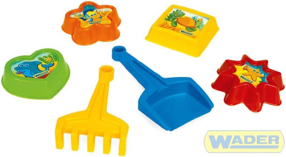 WADER Formičky na písek plastový set s lopatkou a hráběmi IML 6 ks 71220