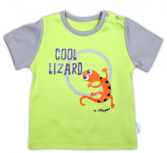 Bavlněné tričko NICOL JEŠTĚRKA - krátký rukáv - hráškově zelená - 104