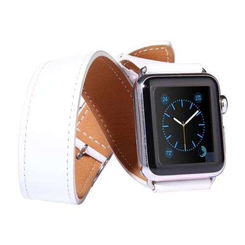 Kožený pásek / řemínek Double Circle pro Apple Watch 42mm bílý