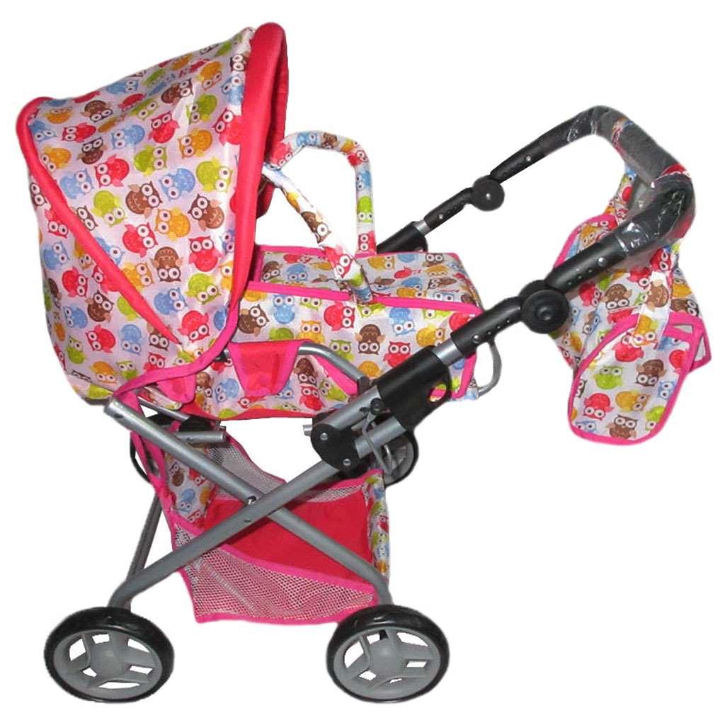Dětský kočárek pro panenky 2v1 Baby Mix se sovičkami - multicolor