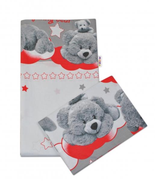 2-dílné bavlněné povlečení Medvídek hvězdička - šedé s červenou - 135x100cm - 135x100