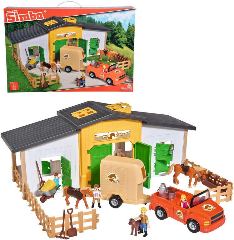 SIMBA Stáj s koníky a figurkami velký herní set autem a přívěsem s doplňky