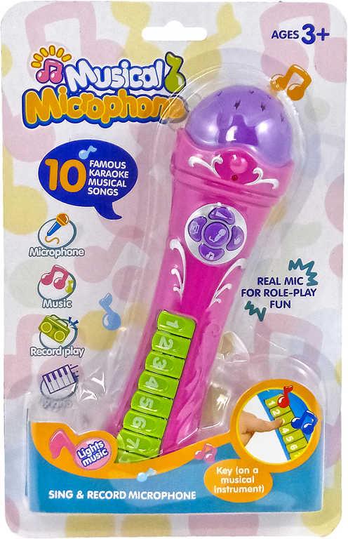 Mikrofon dětský s nahráváním na baterie s piankem Světlo Zvuk plast