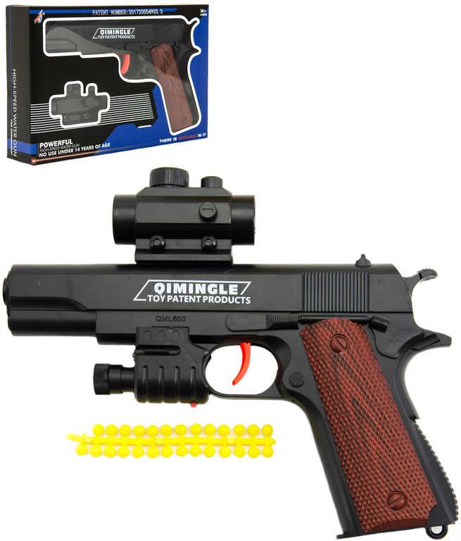 Pistole dětská 20cm na měkké kuličky set se soft náboji na baterie Světlo