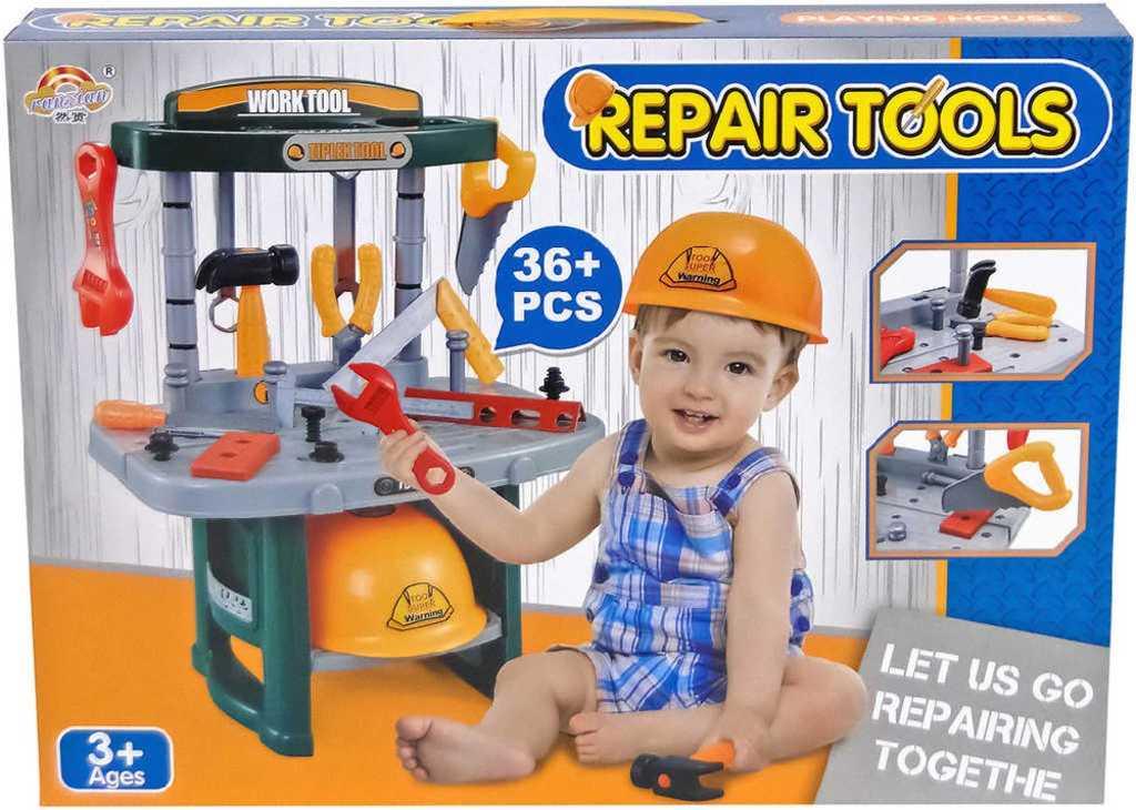 Stůl dětský pracovní set s helmou a nářadím 36ks plast v krabici