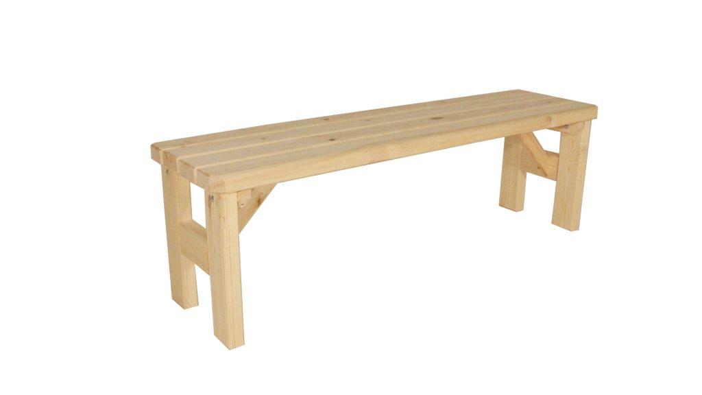 Zahradní dřevěná lavice bez opěradla Darina - bez povrchové úpravy - 150 cm