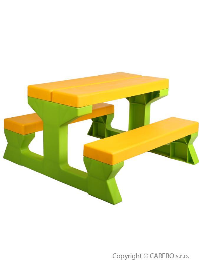Dětský zahradní nábytek - Stůl a lavičky - žlutá
