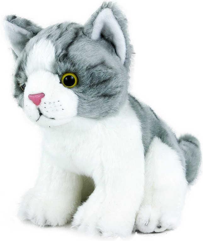 PLYŠ Kočka sedící 18cm šedo-bílá *PLYŠOVÉ HRAČKY*