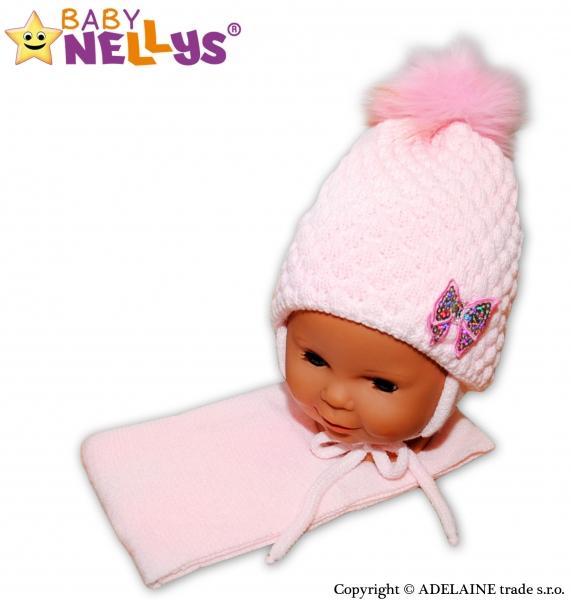 b906e114bb1 Zimní čepice čepička Mašlička - světle růžová - 12 24měsíců