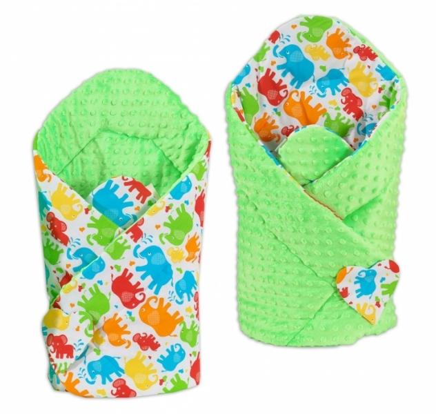 mamo-tato-oboustranna-zavinovacka-minky-baby-slonici-barevni-sv-zelena