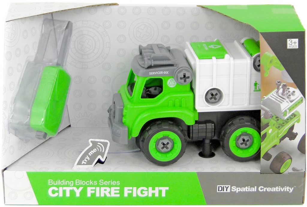 Auto hasičské na šroubování montovací s nástrojem k sestavení na baterie
