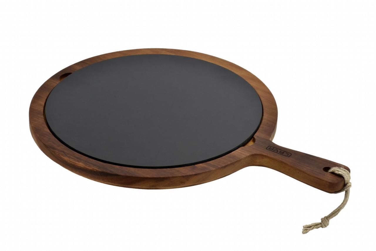 Lava wood - servírovací deska s porcelánovým talířem