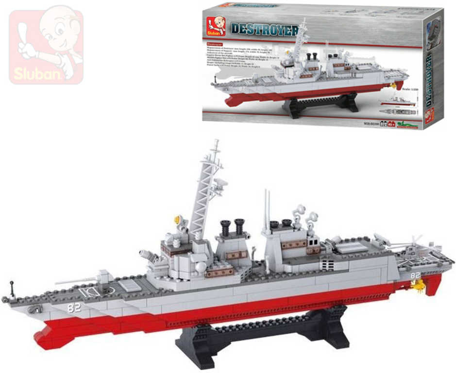SLUBAN Stavebnice DESTROYER torpédoborec se stojanem set 615 dílků plast