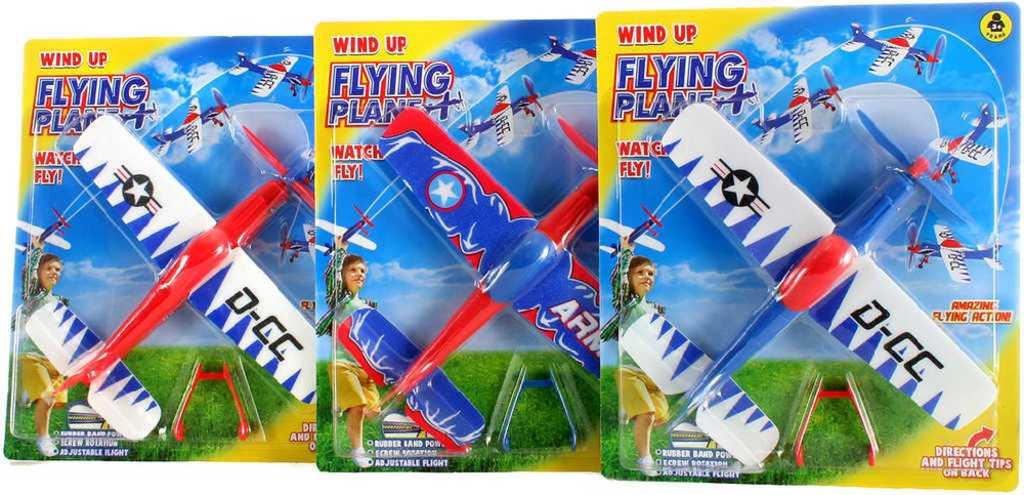 Letadlo házecí natahovací na gumku 26cm polystyrenové 3 barvy plast