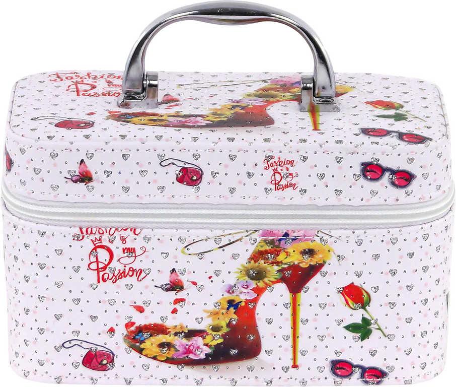 Kufřík dětský kosmetický bota se zrcadlem na zip bílý pro holčičky