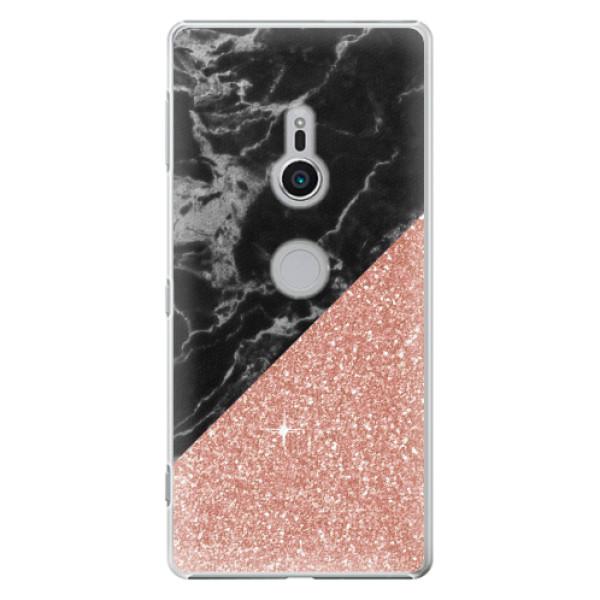 Plastové pouzdro iSaprio - Rose and Black Marble - Sony Xperia XZ2