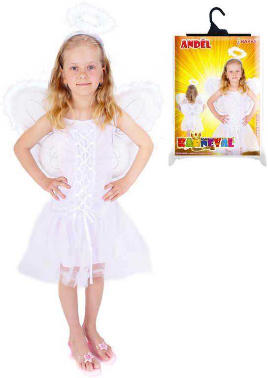 KARNEVAL Šaty anděl set s křídly a svatozáří vel.S (110-116cm) 4-6 let KOSTÝM
