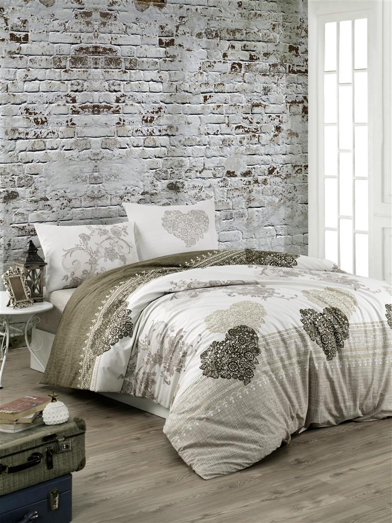 Povlečení bavlna 140x200, 70x90cm Love natur, Výběr zapínání: