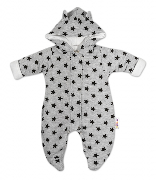 Kombinézka s kapucí a oušky Hvězdičky Baby Nellys ® - šedá/tm. modrá, vel. 74 - 74 (6-9m)