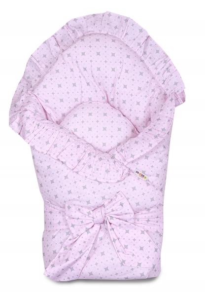 Baby Nellys Rychlozavinovačka 80x80cm s volánkem a stuhou - kárko růžové