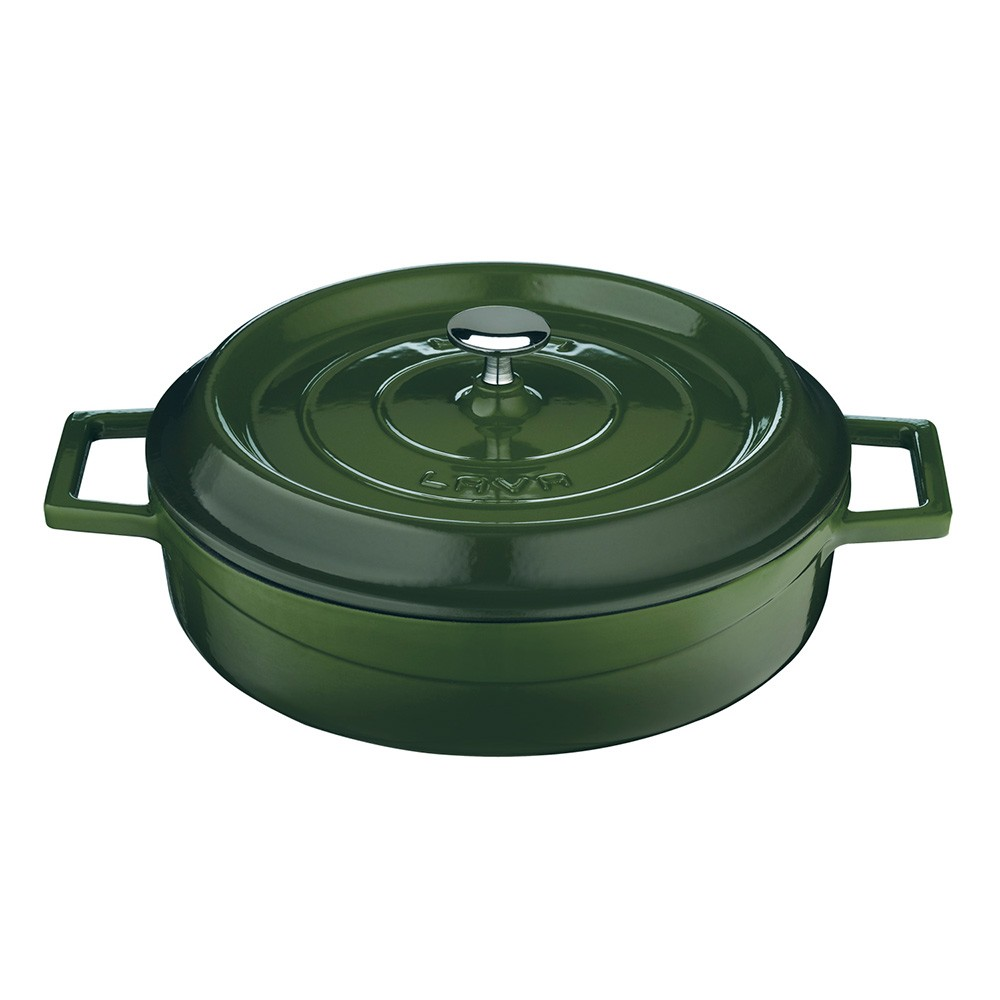 Litinový hrnec nízký kulatý 32cm - zelený