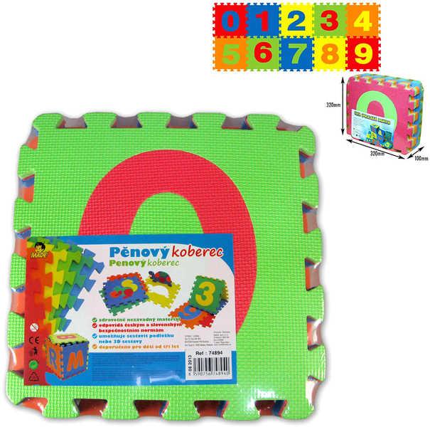 Koberec pěnový barevný set 10 dílků ve folii číslice