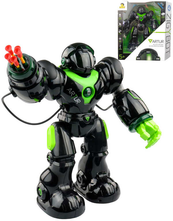Zigybot Artur 35cm interaktivní robot funkční kanon na baterie CZ Světlo Zvuk