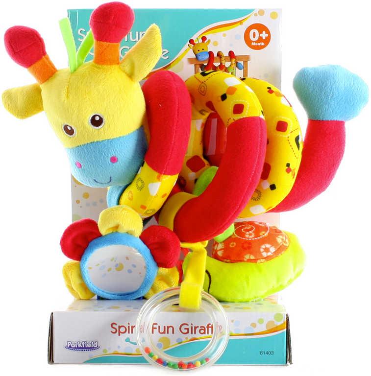 PLYŠ Baby spirála žirafa chrastítko s aktivitami na postýlku pro miminko