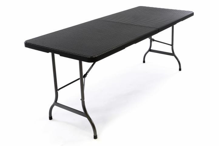 Skládací zahradní stůl v ratanovém designu - černý 180x75 cm