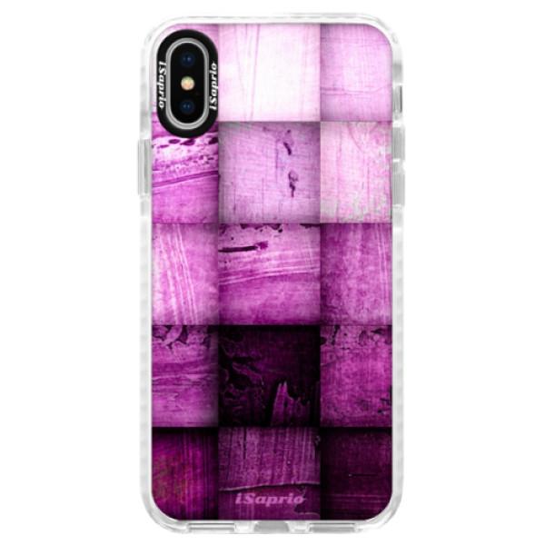 Silikonové pouzdro Bumper iSaprio - Purple Squares - iPhone X