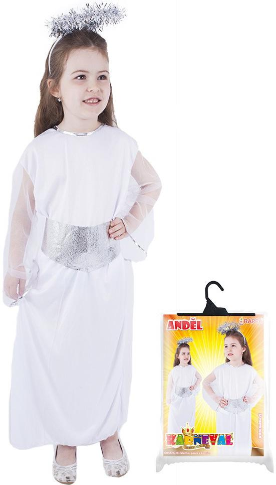 KARNEVAL Šaty anděl + svatozář vel. M 6-8 let (116-128cm) KOSTÝM