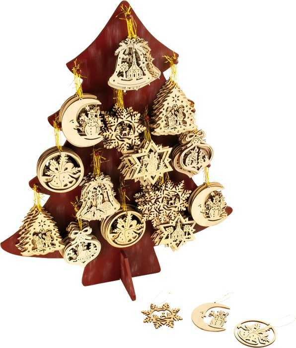 Small Foot Display Dřevěné vánoční ozdoby