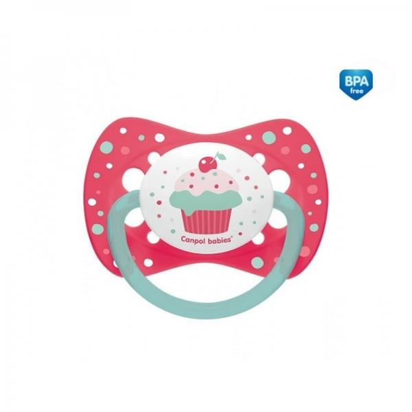 Dudlík symetrický Cupcake 18m+ C - růžový - 18m+