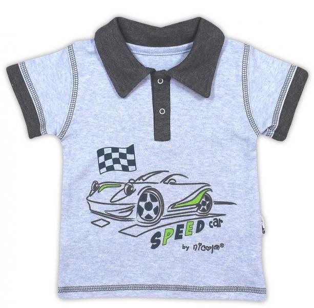 Bavlněné tričko/polo NICOL AUTO - krátký rukáv - melír sv. modrá - 74 (6-9m)