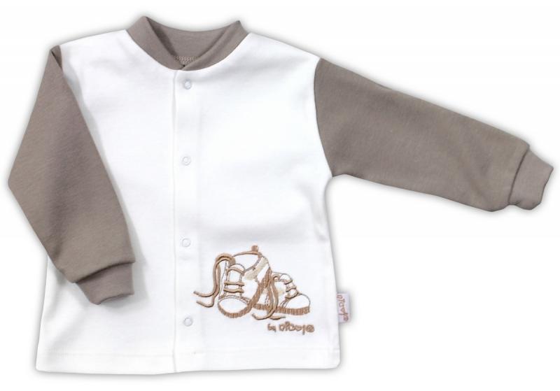 Bavlněná košilka NICOL STEP BY STEP - BOTIČKY v bílo/hnědé - 80 (9-12m)
