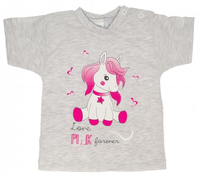 Bavlněné tričko - vel. 80 - Pony - šedé - 80 (9-12m)